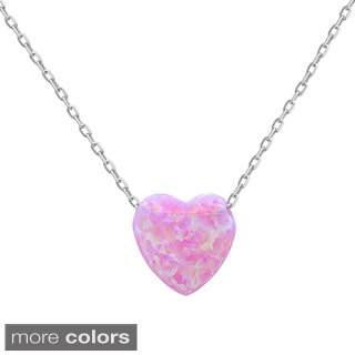 La Preciosa Sterling Silver Opal Heart Necklace
