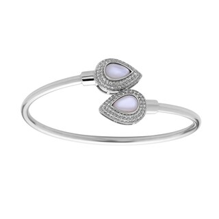 La Preciosa Sterling Silver Cubic Zirconia and Mother of Pearl Teardrop Ends Bangle