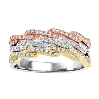 Beverly Hills Charm 10k Tri-color Gold 1/2ct TDW Diamond Anniversary Band