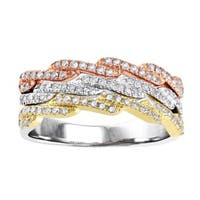 10k Tri-color Gold 1/2ct TDW Diamond Anniversary Band