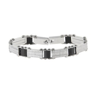 Stainless Steel Men's 1 5/8ct TDW Diamond Bracelet