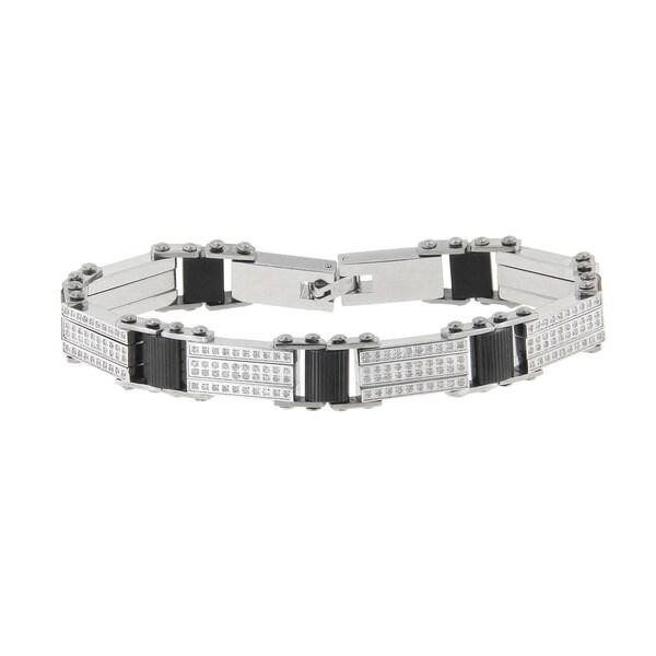 Stainless Steel Men's 1 5/8ct TDW Diamond Bracelet