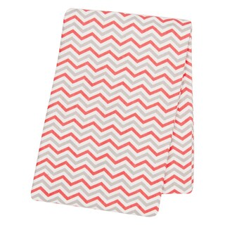 Trend Lab Coral and Grey Deluxe Flannel Swaddle Blanket