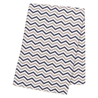 Trend Lab Navy and Grey Chevron Deluxe Flannel Swaddle Blanket