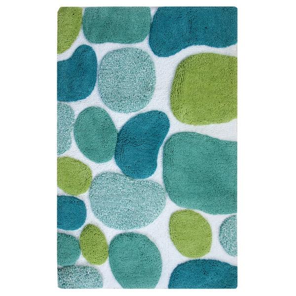 Pebbles Brights 24 x 36 Bath Runner - Pool Blue with Bonus Step Out Mat