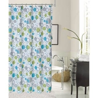 Bubbles Shower Curtain Blue by Dainty Home