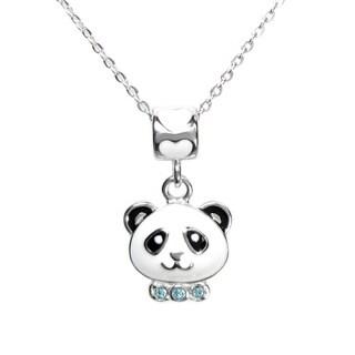 Queenberry Sterling Silver Enamel CZ Dangle Panda Bead Charm Pendant