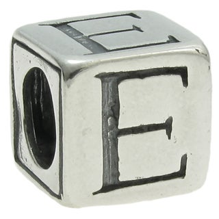 Queenberry Sterling Silver Dice Cube 'E' European Bead Charm