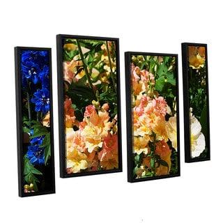 ArtWall Allan Friedlander 'Pink Poppy' 4 Piece Floater Framed Canvas Staggered Set