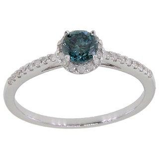 14k White Gold 3/5ct TDW Blue Round Diamond Solitaire Engagement Ring (G-H, I2 -I3)