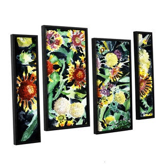 ArtWall Derek Mccrea 'Indian Blanket Flowers' 4 Piece Floater Framed Canvas Staggered Set