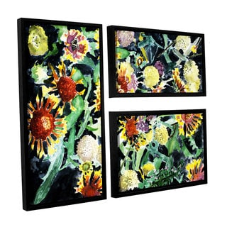 ArtWall Derek Mccrea 'Indian Blanket Flowers' 3 Piece Floater Framed Canvas Flag Set