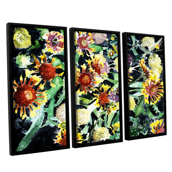 ArtWall Derek Mccrea 'Indian Blanket Flowers' 3 Piece Floater Framed Canvas Set
