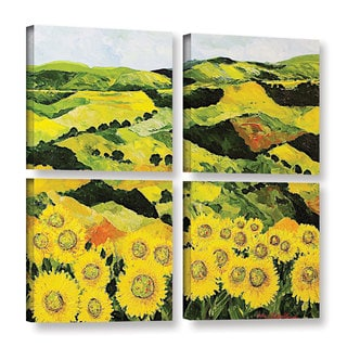 ArtWall Allan Friedlander 'Sunflowers And Sunshine' 4 Piece Gallery-wrapped Canvas Square Set
