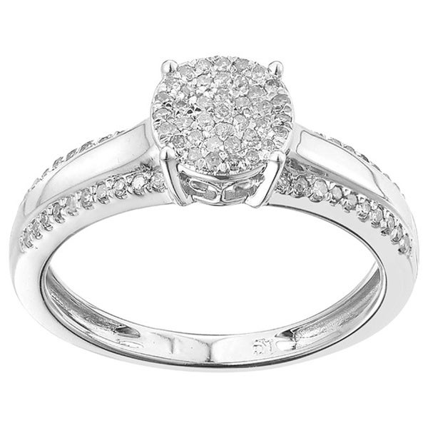 Sterling Silver 1/4ct TDW Diamond Engagement Ring