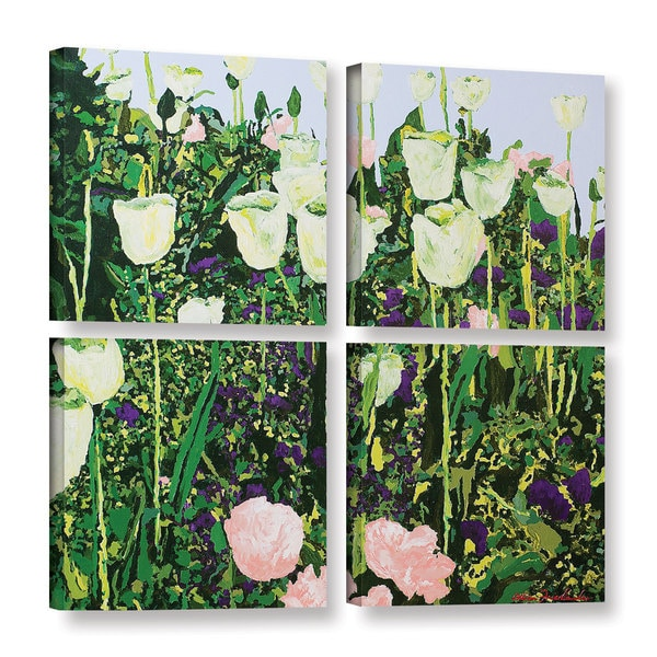 ArtWall Allan Friedlander 'Tulip Delight' 4 Piece Gallery-wrapped Canvas Square Set - Green
