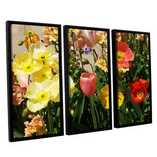 ArtWall Allan Friedlander 'Yellow Flowers' 3 Piece Floater Framed Canvas Set