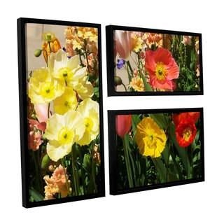 ArtWall Allan Friedlander 'Yellow Flowers' 3 Piece Floater Framed Canvas Flag Set