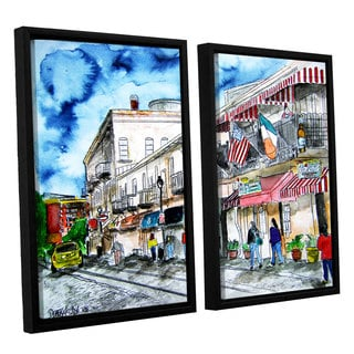 ArtWall Derek Mccrea 'Savannah River Street' 2 Piece Floater Framed Canvas Set