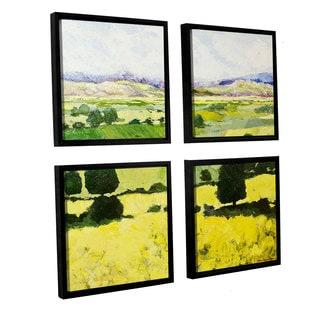 ArtWall Allan Friedlander 'Napa Yellow 2' 4 Piece Floater Framed Canvas Square Set
