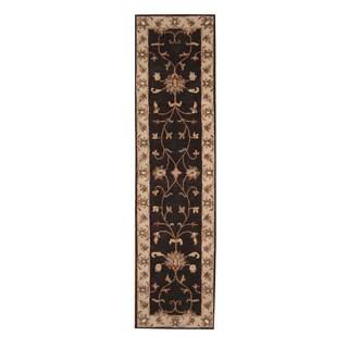 Herat Oriental Indo Hand-Tufted Tibetan Dark Brown/ Ivory Wool Rug (2'7 x 10'1)