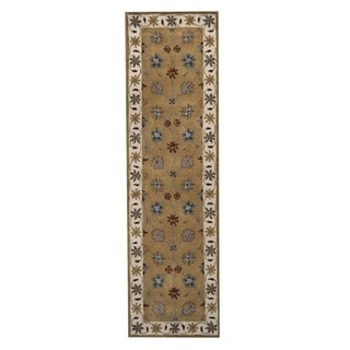 Herat Oriental Indo Hand-Tufted Mahal Light Green/ Ivory Wool Rug (2'4 x 8')