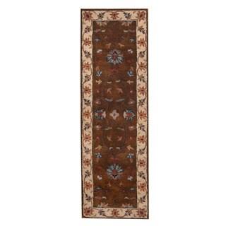 Herat Oriental Indo Hand-Tufted Mahal Dark Brown/ Beige Wool Rug (2'7 x 8')