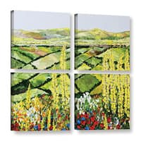 ArtWall Allan Friedlander 'Rolling Fields' 4 Piece Gallery-wrapped Canvas Square Set - Multi