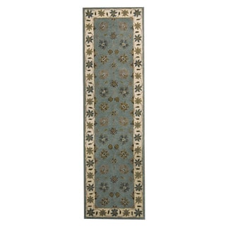Herat Oriental Indo Hand-tufted Mahal Light Blue/ Ivory Wool Area Rug (2'4 x 8')