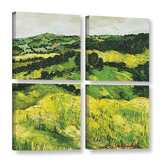 ArtWall Allan Friedlander 'Tall Grass Path' 4 Piece Gallery-wrapped Canvas Square Set