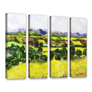 ArtWall Allan Friedlander 'Yellow Weeds' 4 Piece Gallery-Wrapped Canvas Set