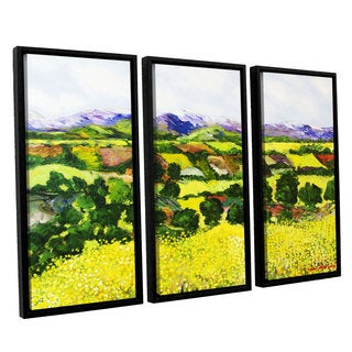 ArtWall Allan Friedlander 'Yellow Weeds' 3 Piece Floater Framed Canvas Set