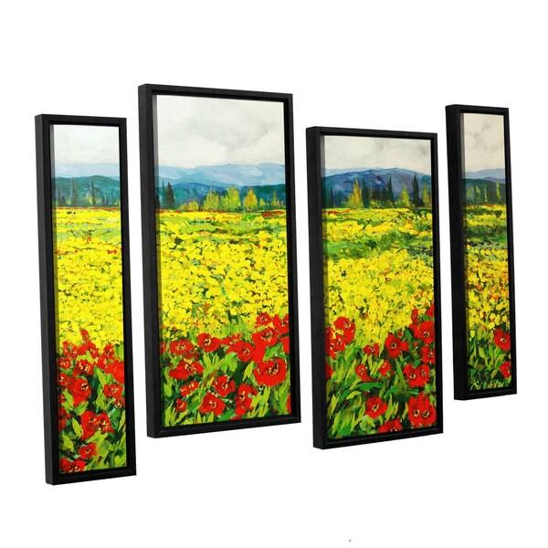 ArtWall Allan Friedlander \'Zone De Fleurs\' 4 Piece Floater Framed ...