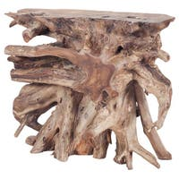 LS Dimond Home Natural Teak Slice Console