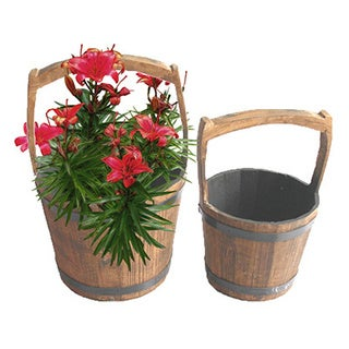 Wooden Pail Planters (Set of 2)