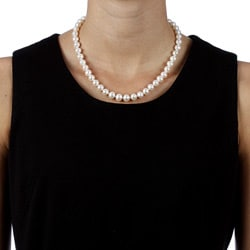 DaVonna 14k Gold White High Luster FW Pearl 16-inch Necklace (7.5-8 mm)