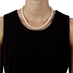 DaVonna 14k Yellow Gold 7-.5-8mm White Freshwater High Luster Pearl Necklace 16-inch