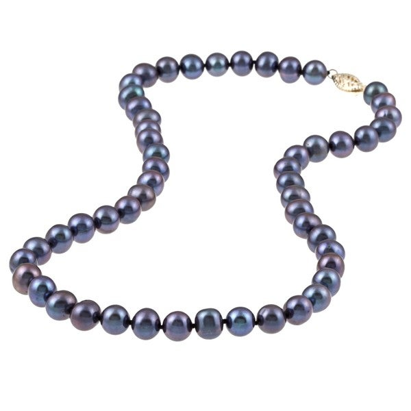 DaVonna 14k Gold Cultured Freshwater Black Pearl Necklace (7.5-8 mm/ 16 in)