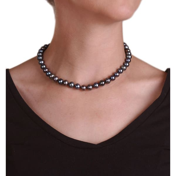 DaVonna 14k Gold Cultured Freshwater Black Pearl Necklace (9-10 mm)