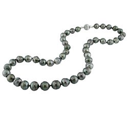 DaVonna 14k Gold Black 8-10mm Tahitian Pearl Necklace-Earring Set with Gift Box