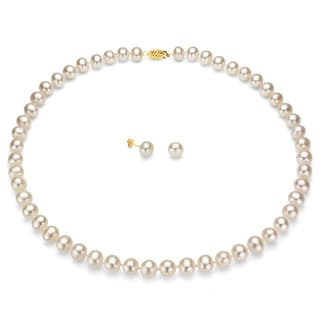 Davonna 14k Gold White Freshwater Pearl Necklace Earring Set With Gift Box On Free Shipping Today 1038188