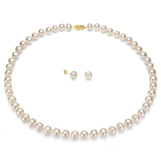DaVonna 14k Gold White Freshwater Pearl Necklace Earring Set with Gift Box|https://ak1.ostkcdn.com/images/products/1038188/DaVonna-14k-Gold-White-FW-Pearl-Necklace-Earring-Set-with-Gift-Box-P1007729.jpg?impolicy=medium