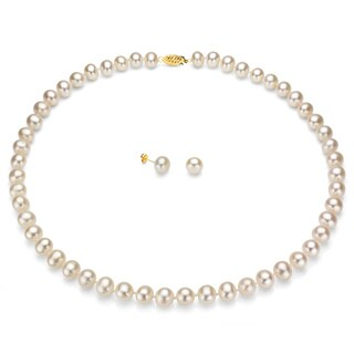 DaVonna 14k Gold White Freshwater Pearl Necklace Earring Set with Gift Box