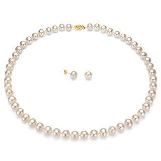 DaVonna 14k Gold White Freshwater Pearl Necklace Earring Set with Gift Box (5 options available)