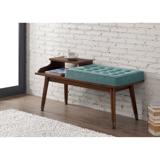 Mid-Century Style Tufted Telephone Bench Teal