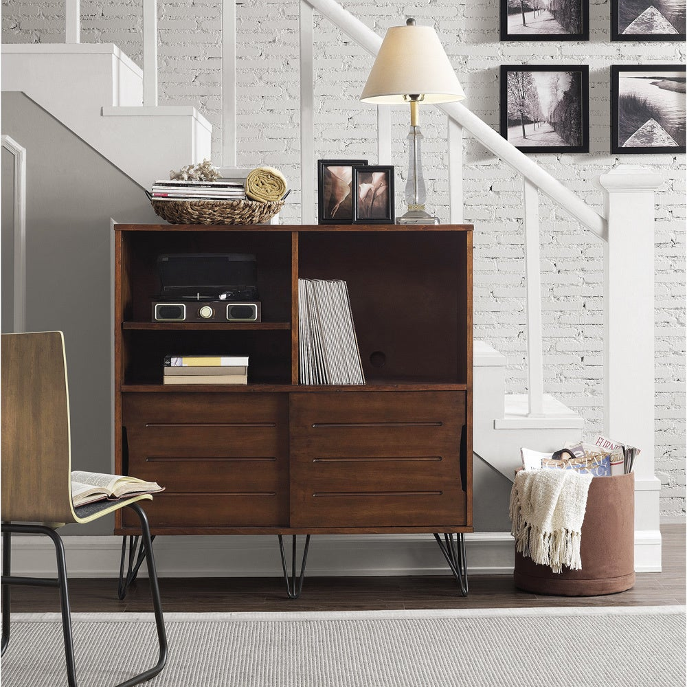 Retro Clarence Media Bookshelf Console, Brown