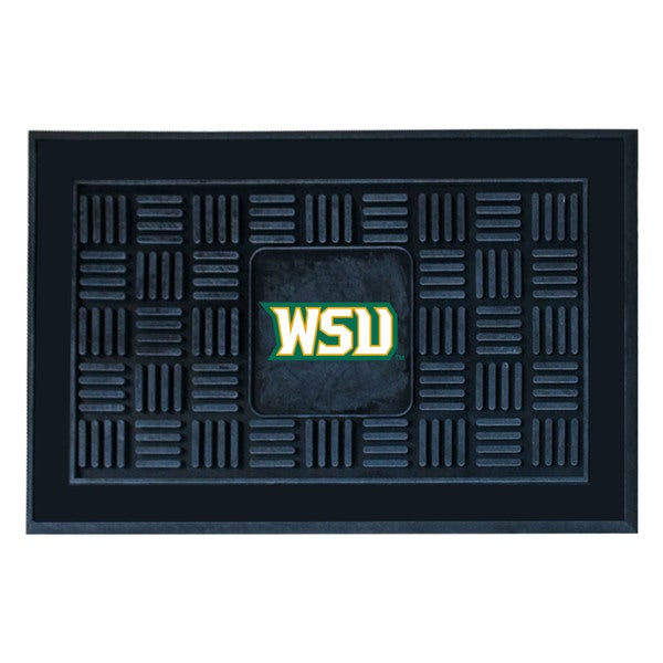 Fanmats Wright State University Black Vinyl Medallion Door Mat (1'6 x 2'5)