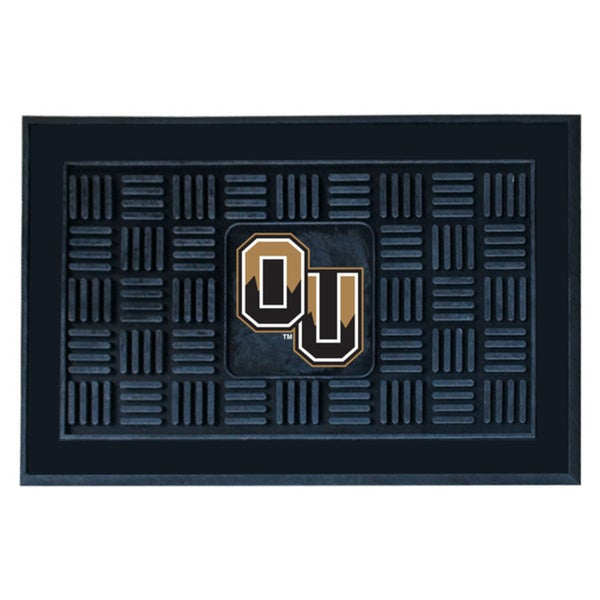 Fanmats Oakland University Black Vinyl Medallion Door Mat (1'6 x 2'5)