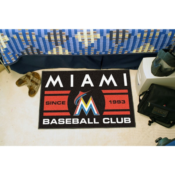 Fanmats Miami Marlins Black Nylon Uniform Inspired Stater Rug (1'6 x 2'5)