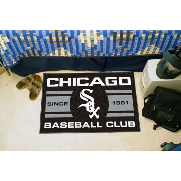 Fanmats Chicago White Sox Black Nylon Uniform Inspired Stater Rug (1'6 x 2'5)